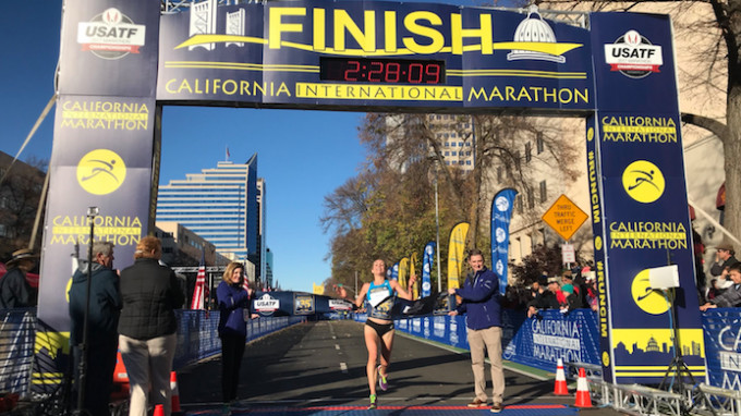 Sara Hall Winner of the California international Marathon