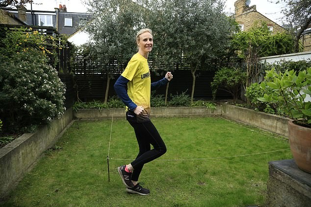 Celia Duncan trained for months to run the London Marathon, then it was called off, but she runs 1,555 laps at her back garden