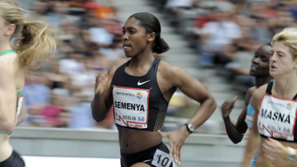 Caster Semenya has run her first public race in eight months, breaking the national 300m record at a low-level meeting at a South African university