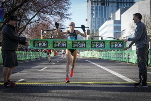 American distance star Jordan Hasay is prepping for the Boston Marathon as she wins the Shamrock 15K run in Portland
