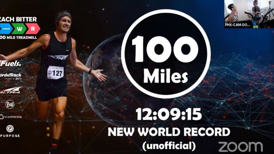 American ultra runner Zach Bitter breaks 100-mile treadmill world record clockin 12:09:15