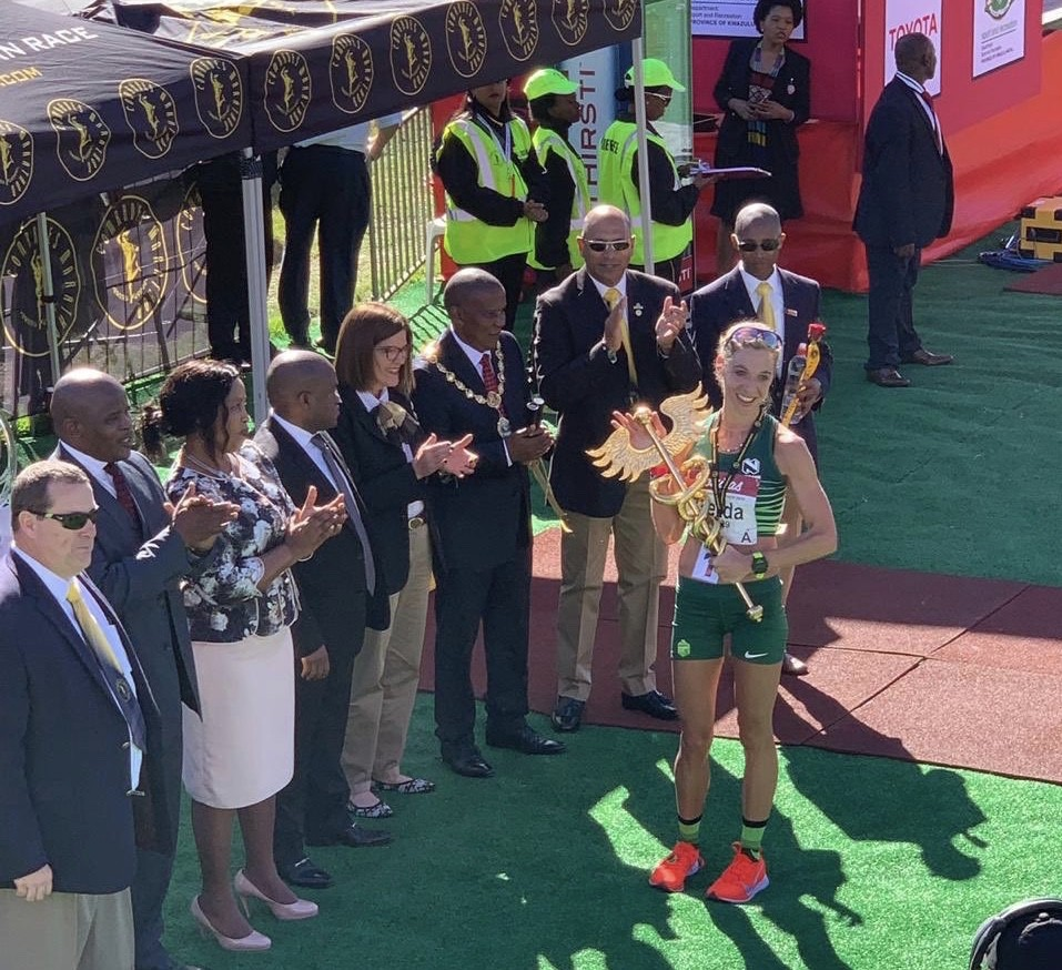 South African Gerda Steyn shattered the course record at Comrades as Camille had to drop out due to hamstring issues