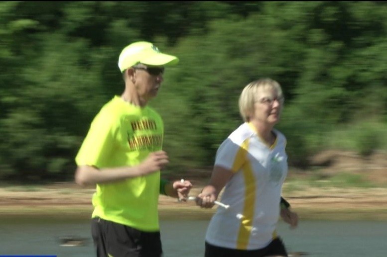 76-year-old Benny Meier is blind, but it doesn't keep him from competing in the Oklahoma City National Memorial Marathon
