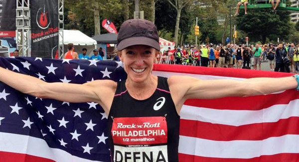 "Deena Kastor ""passing the Torch"" to Molly Huddle"