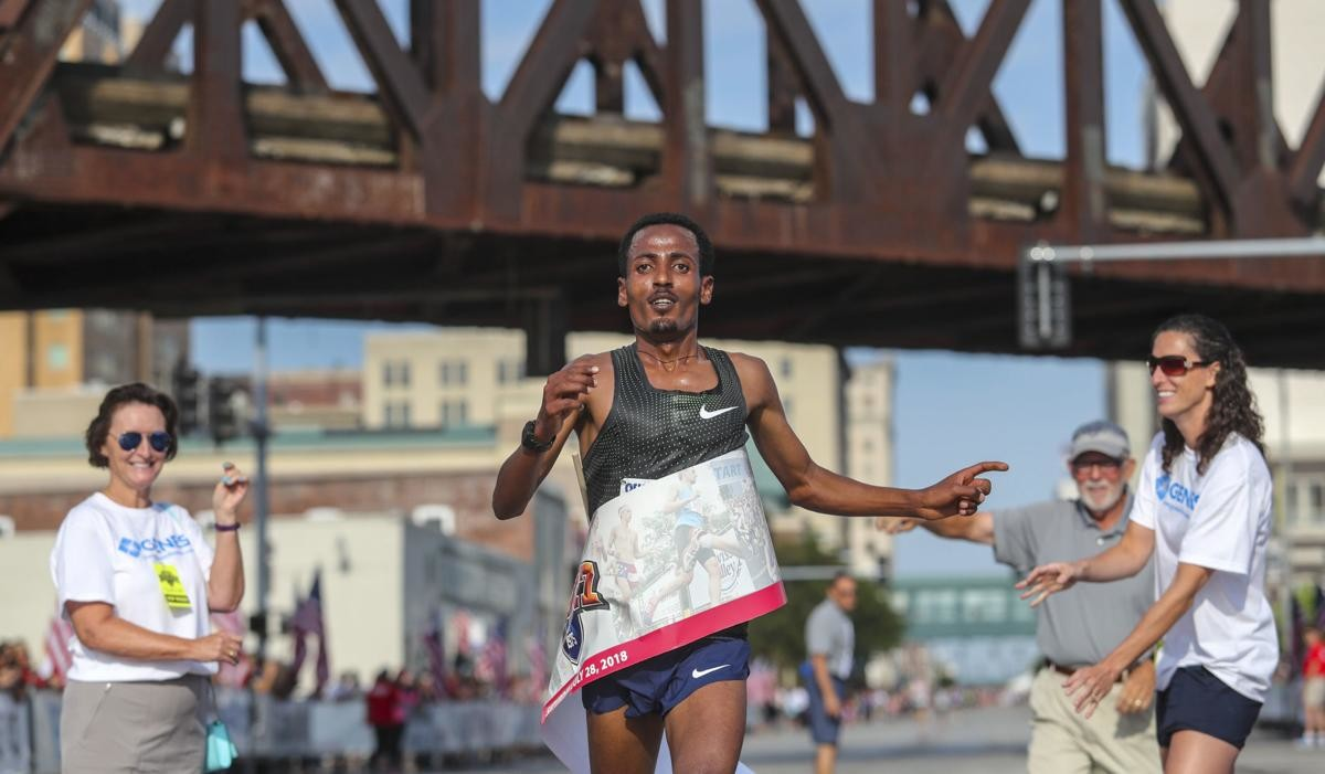 Belay Tilahun wins the Bix 7, the first time an Ethiopian has won this race